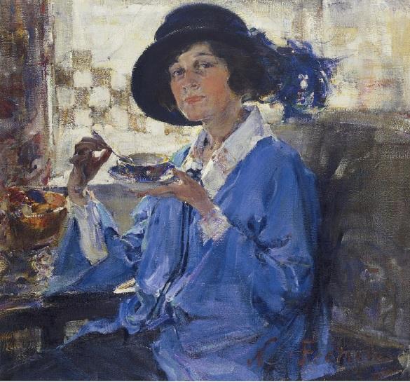 Nicolai Fechin - Tea in Santa Monica (Portrait of Mrs. Krag), 1923