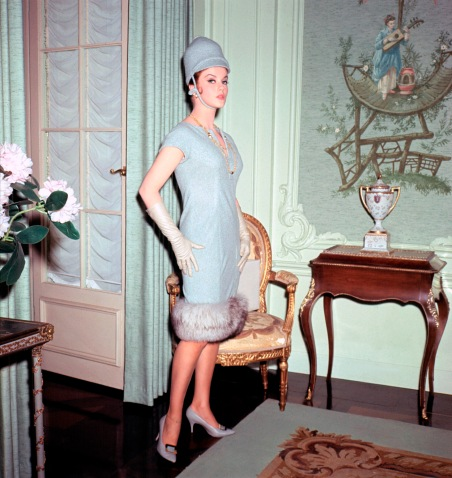ANN-MARGRET, in French drawing room, fur-lined dress with long gloves and Bobby's hat, 1960s